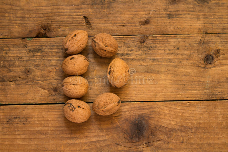 Letter D made from walnuts royalty free stock photography
