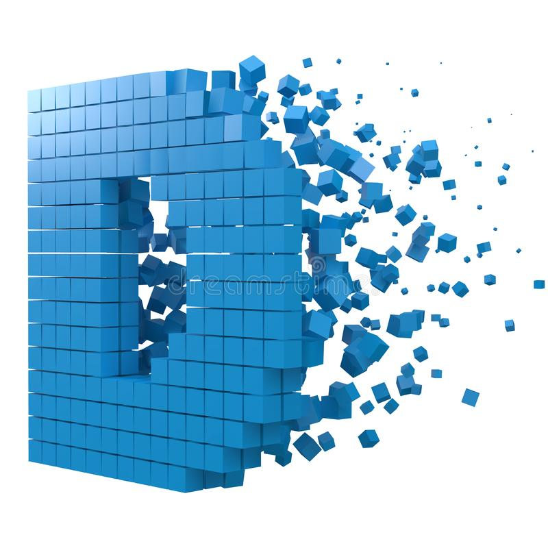 Letter D shaped data block. version with blue cubes. 3d pixel style vector illustration. Suitable for blockchain, technology, computer and abstract themes stock illustration