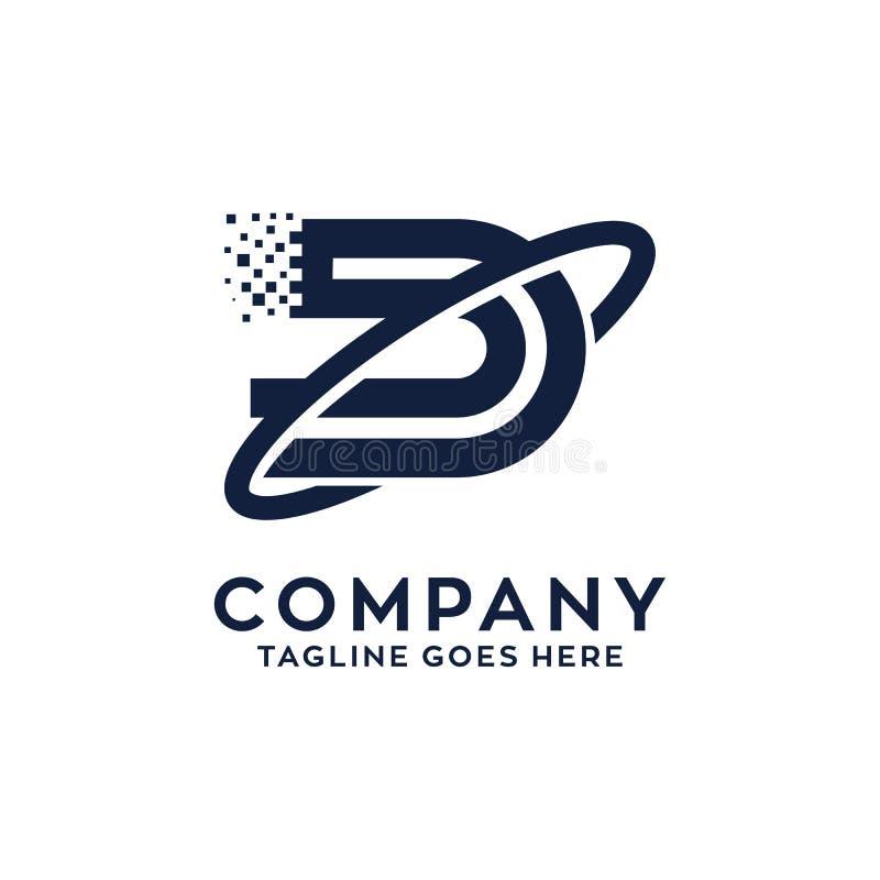 Letter D Technology Logo Design royalty free illustration