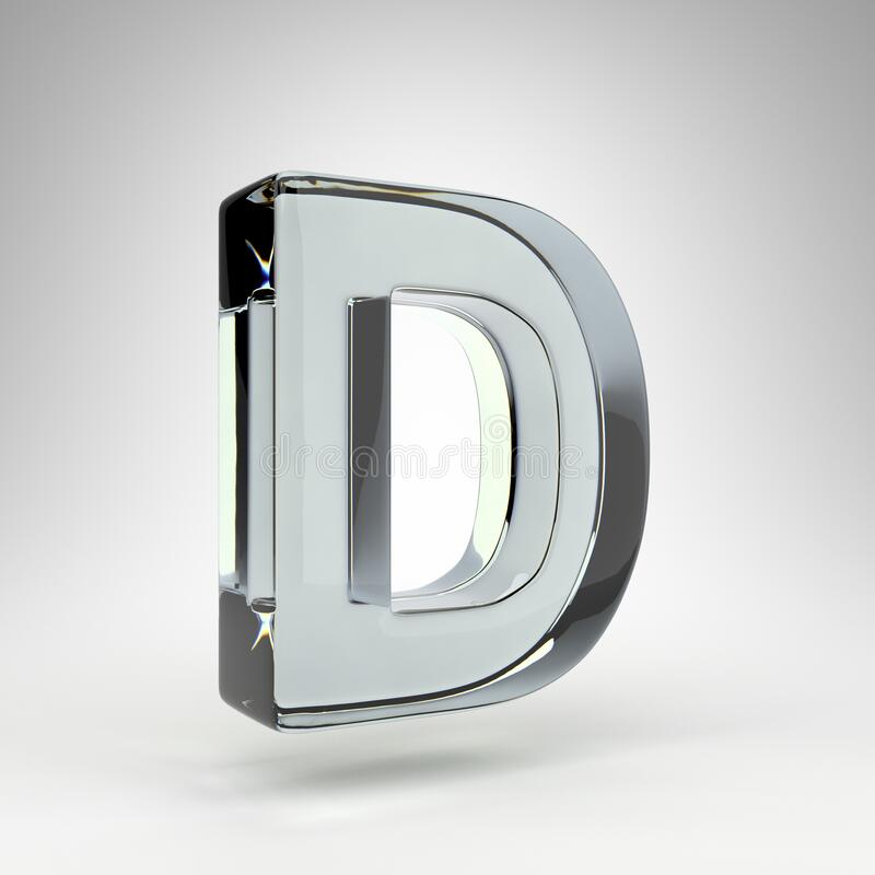 Free Letter D Uppercase On White Background. Camera Lens Transparent Glass 3D Letter With Dispersion. Stock Images - 206928494