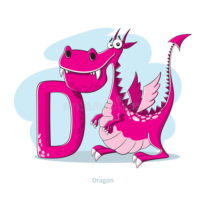 Free Letter D With Funny Dragon Royalty Free Stock Photography - 50889097