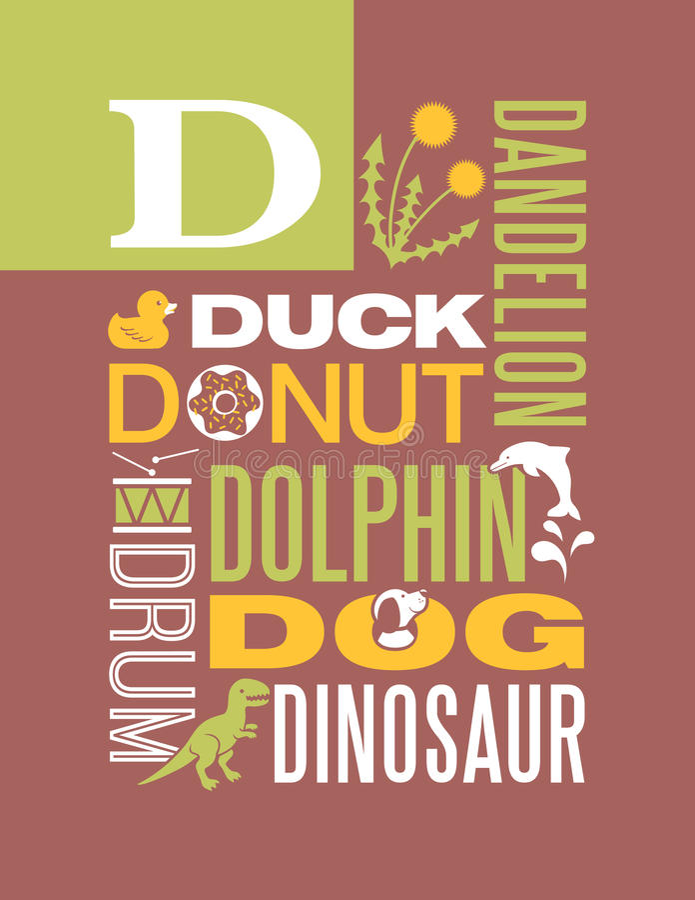 Letter D Words Typography Illustration Alphabet Poster Design Stock