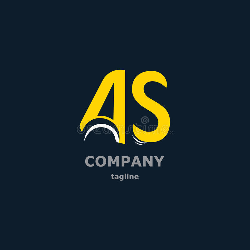 Letter decorative symbols for design. The letters A and S for the logo of the company. Vector illustration stock illustration