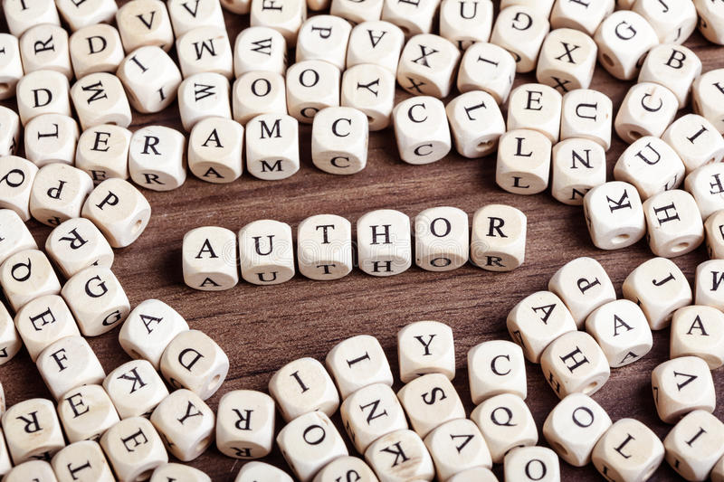 Letter dices word - author. Text concept macro: Letter dices forming word author stock photos