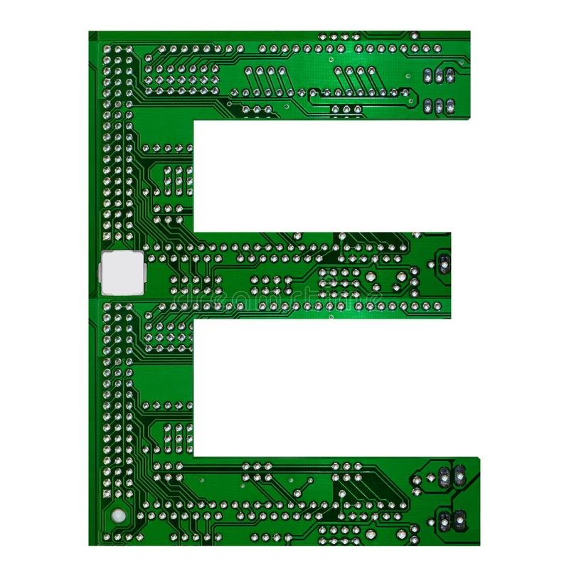 Letter E, Alphabet in circuit board style. Digital hi-tech letter isolated on white. 3d illustration.  vector illustration