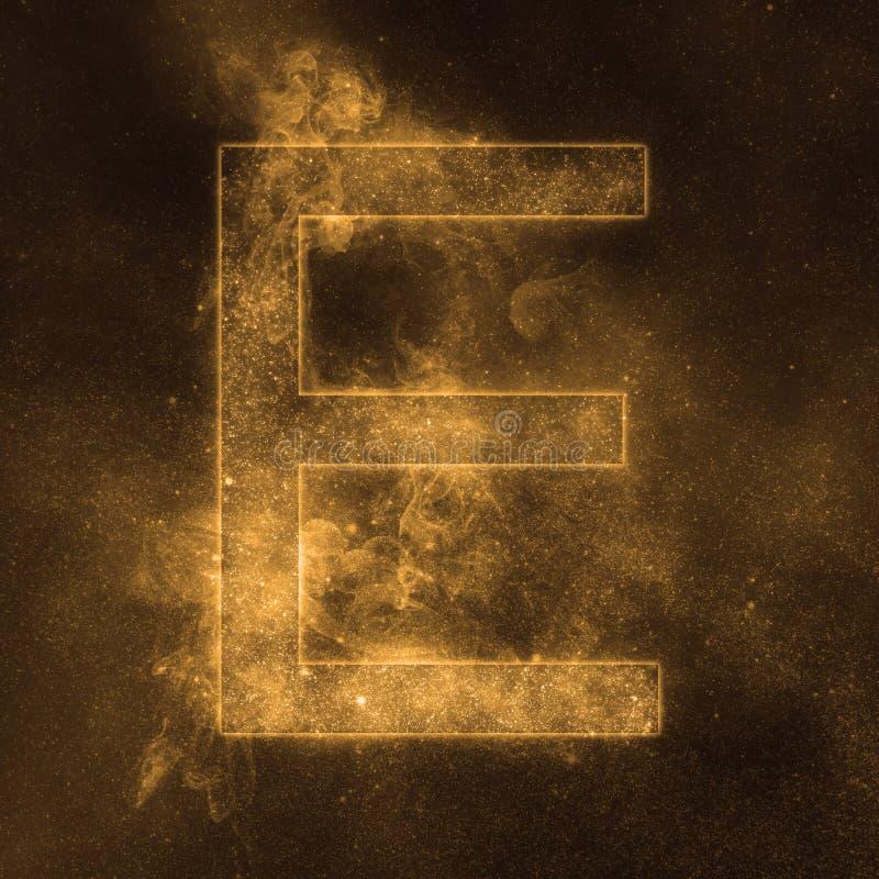 Letter E alphabet symbol. Space Letter, Night Sky Letter. Space letters stock illustration