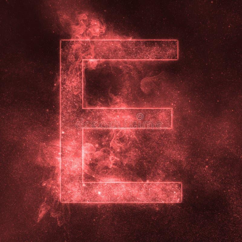 Letter E alphabet symbol. Space Letter, Night Sky Letter. Space letters royalty free illustration