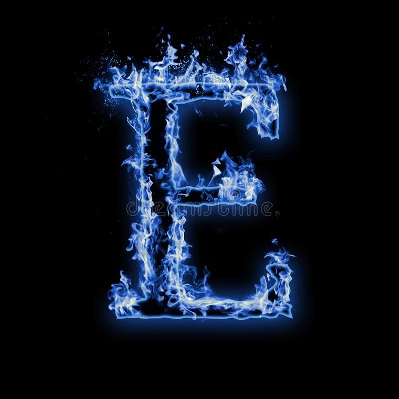 Free Letter E. Blue Fire Flames On Black Stock Photo - 157762910