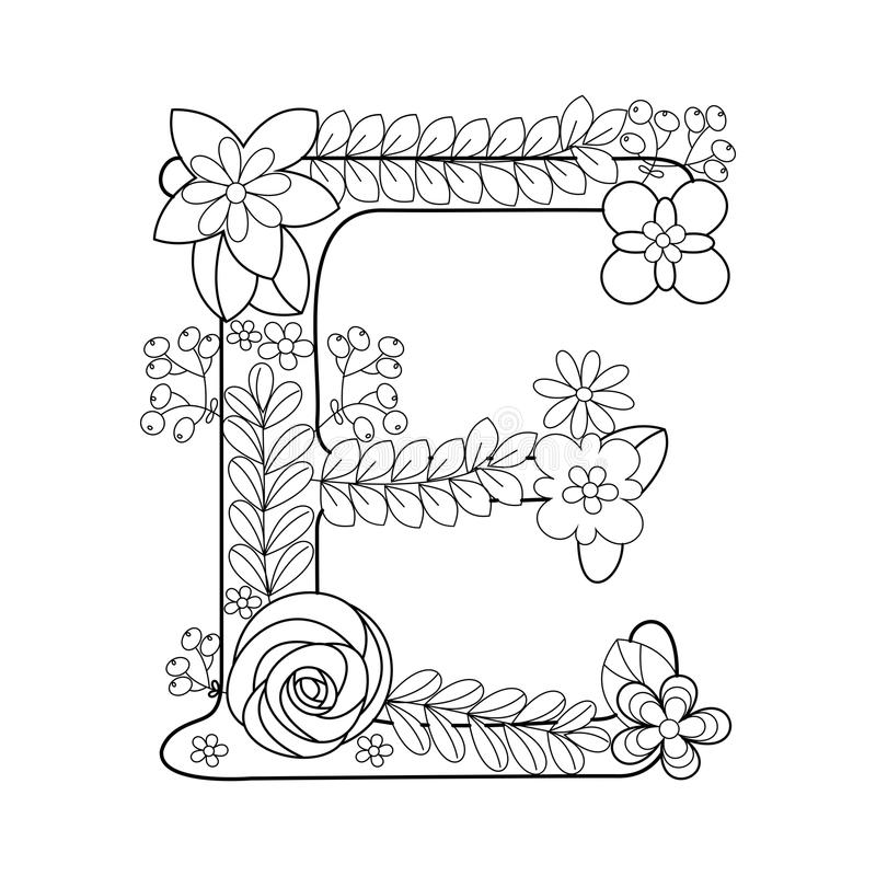 Letter E Coloring Book For Adults