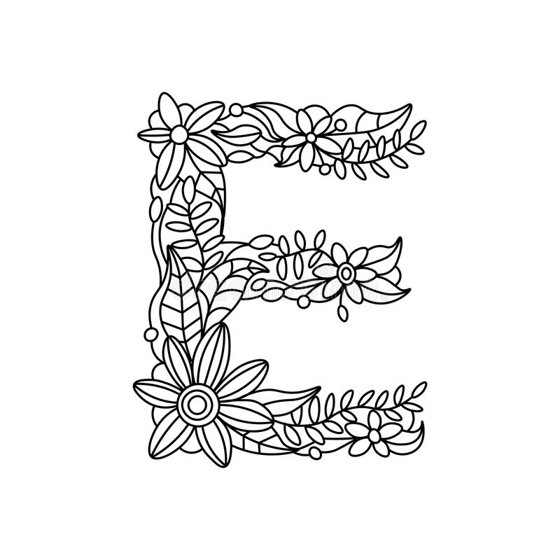 Letter E Coloring Book For Adults Vector Stock Vector - Illustration ...