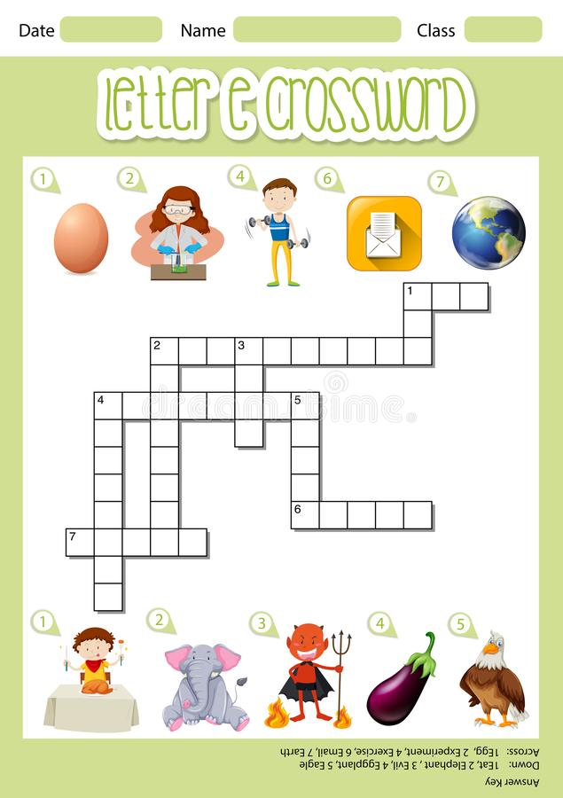 The Letter E Crossword stock illustration