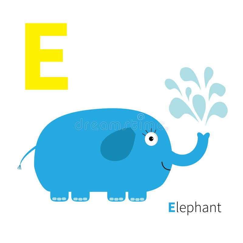 Letter E Elephant Zoo alphabet. English abc with animals Education cards for kids White background Flat design stock illustration