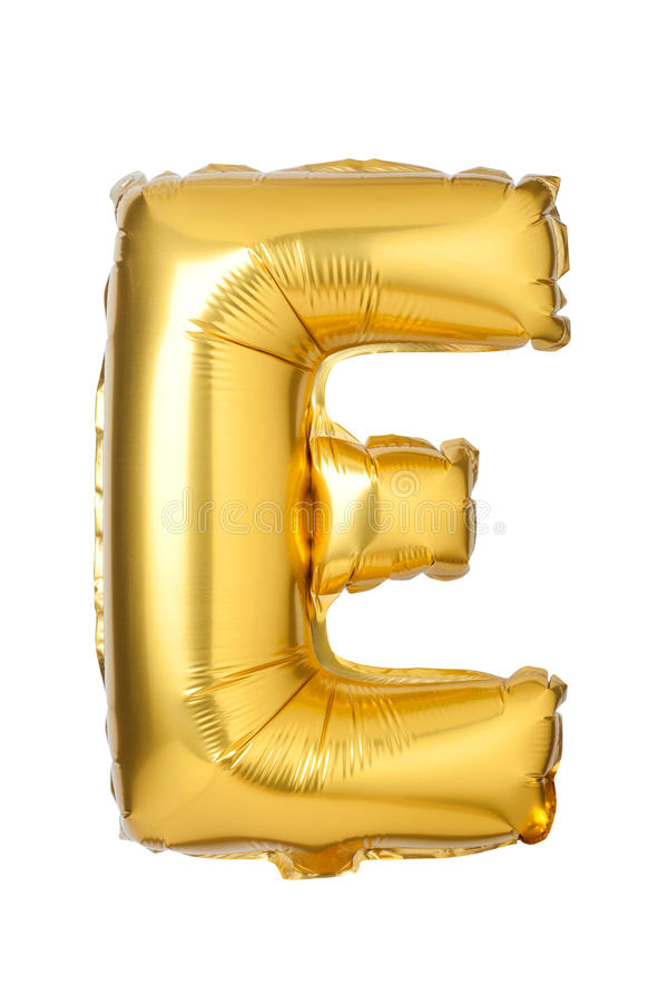 Letter E from English alphabet of balloons. Isolated on white background stock photo