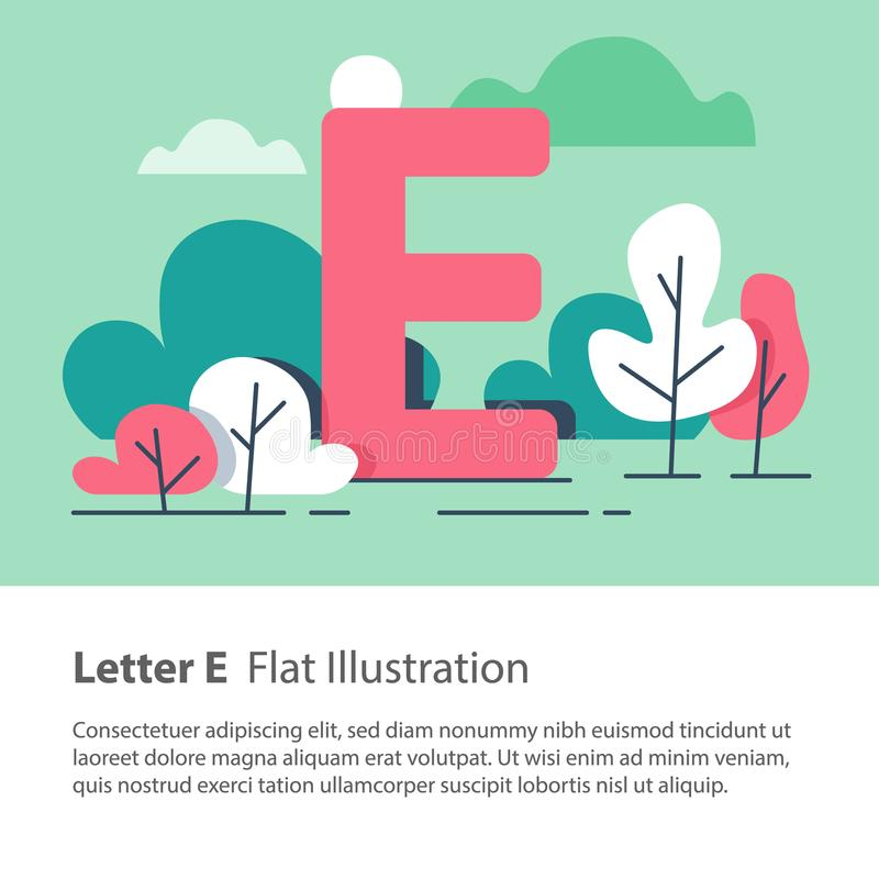 Decorative alphabet, letter E in floral background, park trees, simple font, education concept. Letter E in floral background, park trees, decorative alphabet vector illustration
