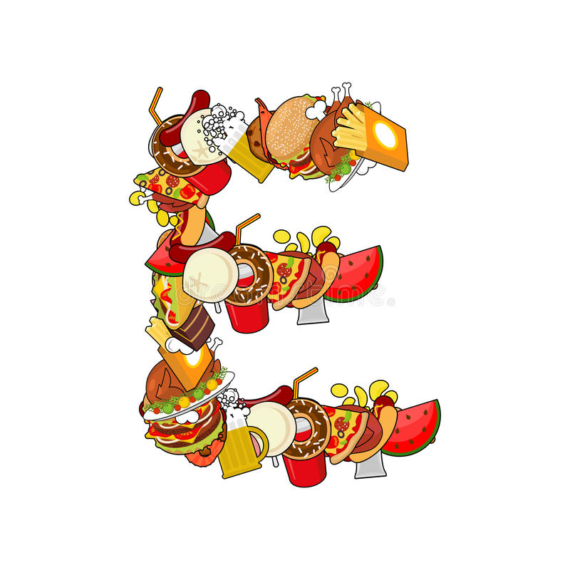 Letter E Food Typography Sign From Products Edible
