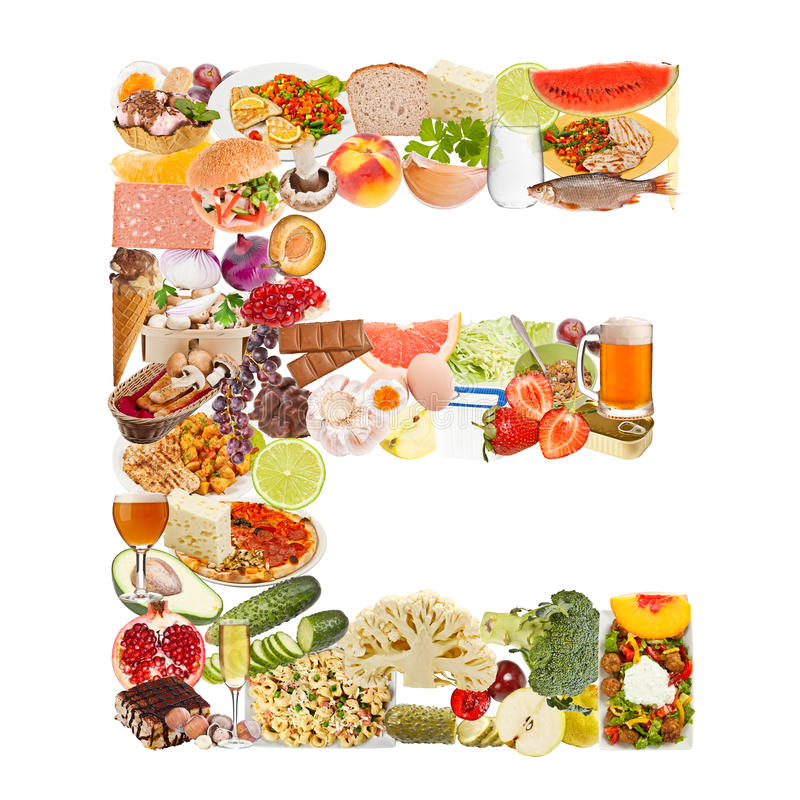 Letter E made of food stock photography