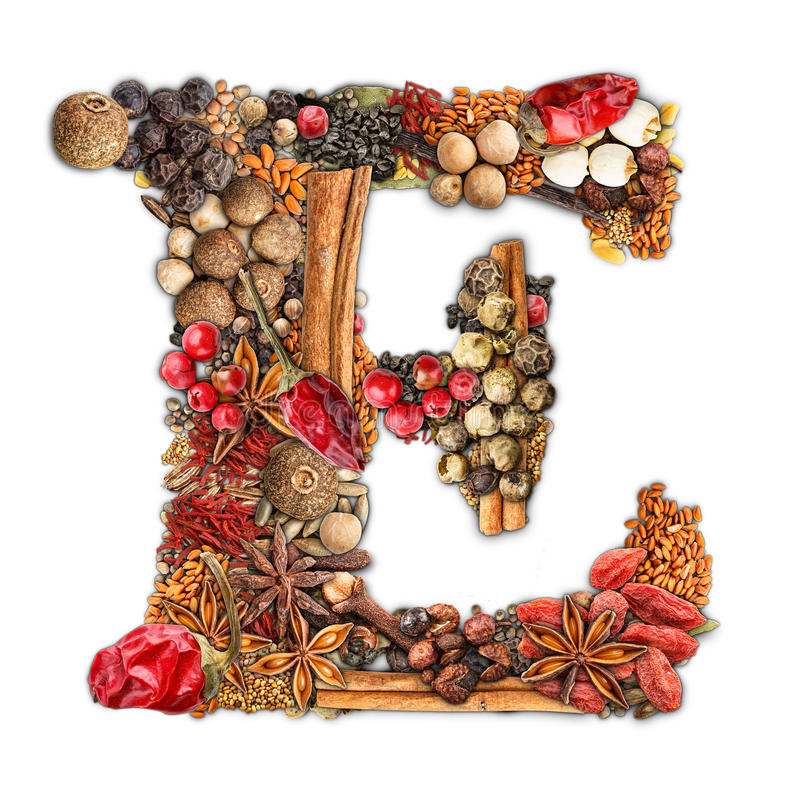 Spices letter stock photo