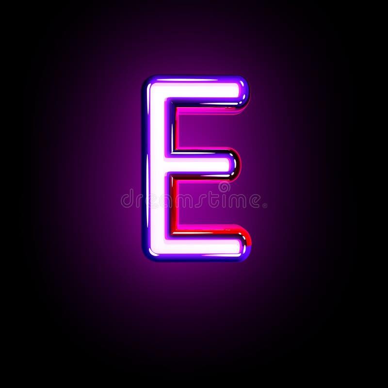Purple glow neon font - letter E isolated on black background, 3D illustration of symbols. Letter E of neon purple glow alphabet isolated on black - 3D royalty free illustration
