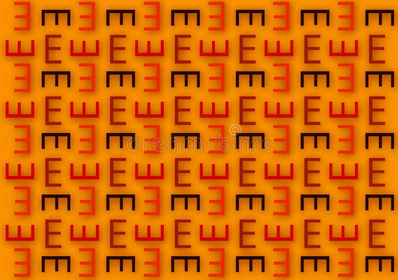 Letter E pattern in different colored shades pattern. For use as wallpaper royalty free illustration