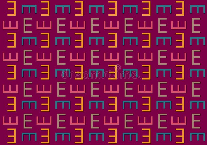 Letter E pattern in different colored shades pattern. For use as wallpaper vector illustration