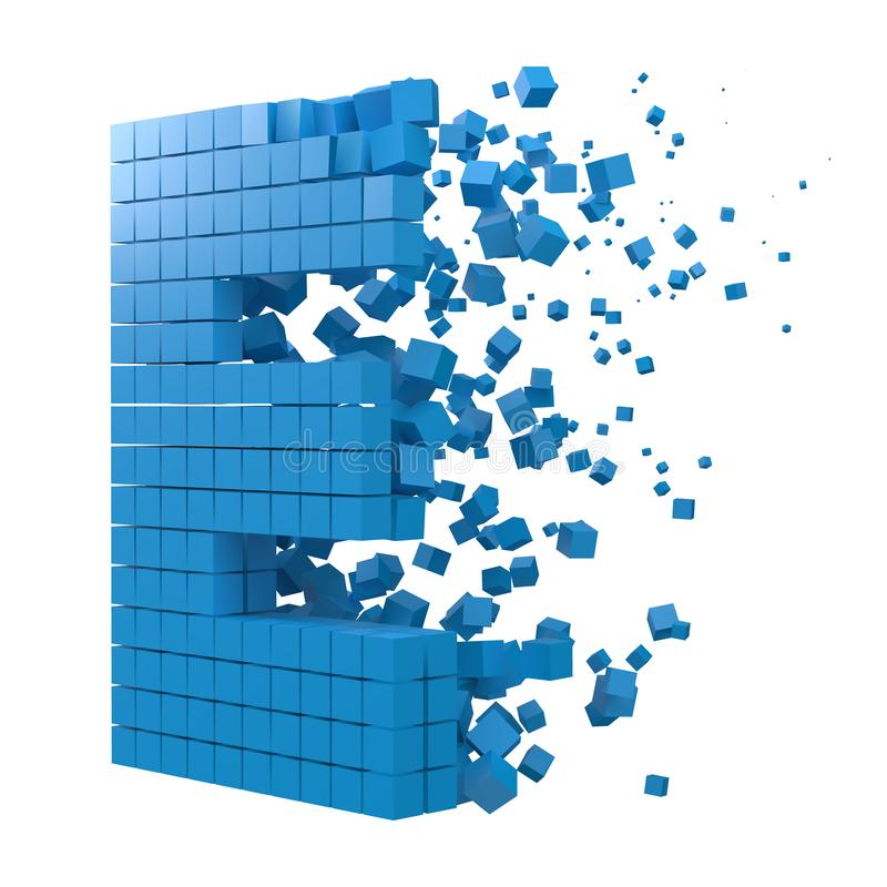 Letter E shaped data block. version with blue cubes. 3d pixel style vector illustration. Suitable for blockchain, technology, computer and abstract themes stock illustration