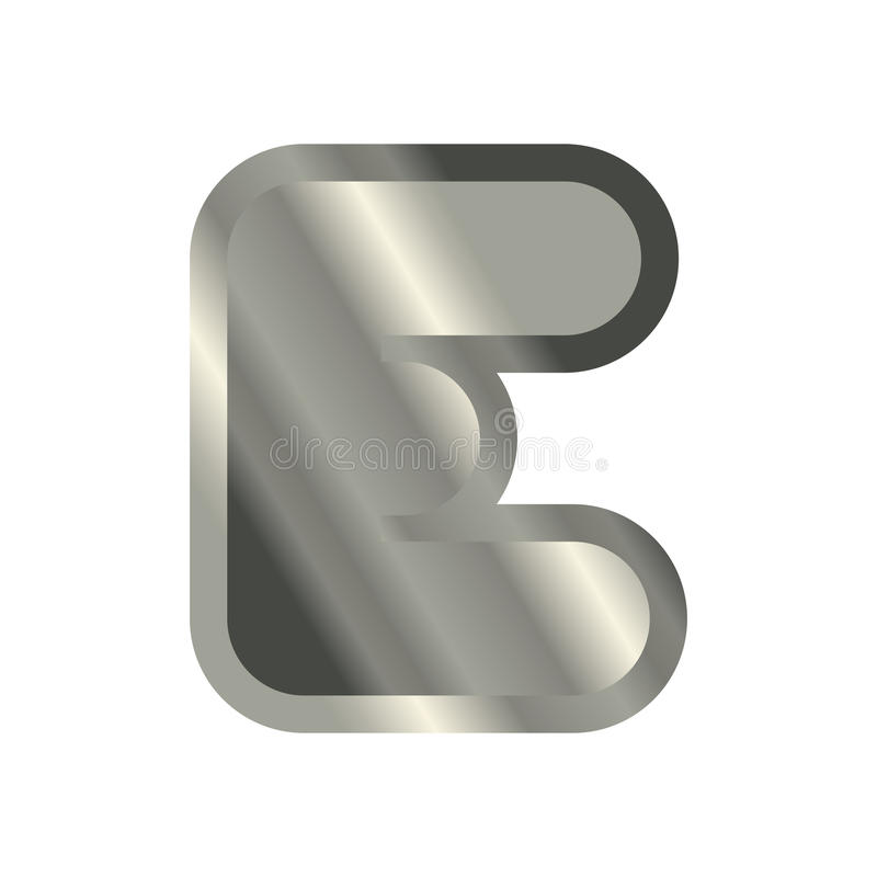 Letter E Steel Font Metal Alphabet Sign Iron Abc Symbol Chrom
