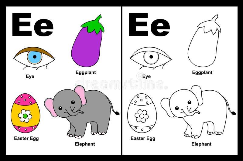 Letter E worksheet vector illustration