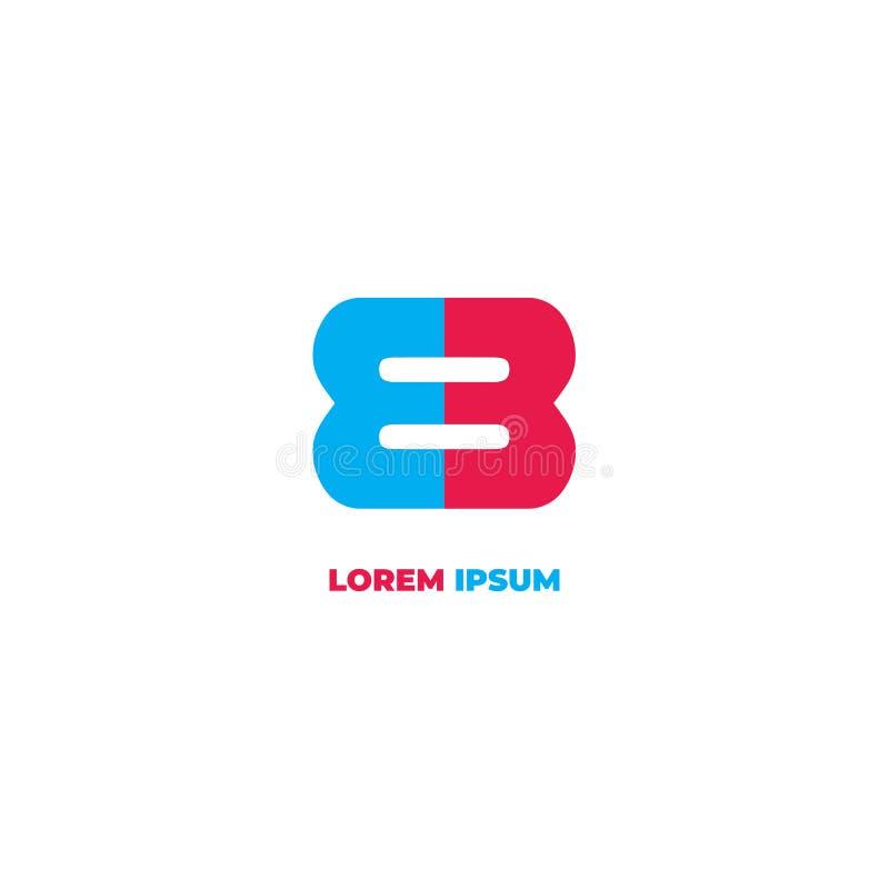 Letter EB или E3 Alphabetic Logo Design Template, Initial Logo Concept, Number 8 icon, Simple, clean иллюстрация вектора