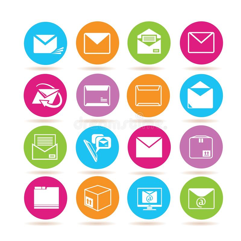 Letter and email icons stock illustration