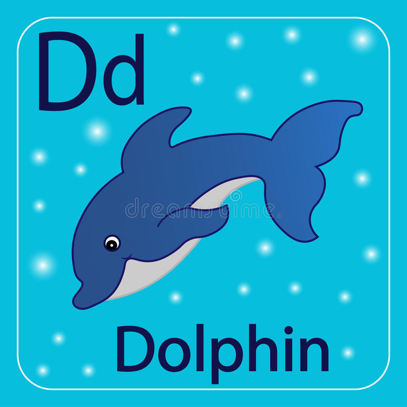 The letter of the English alphabet D, Blue Dolphin. stock illustration