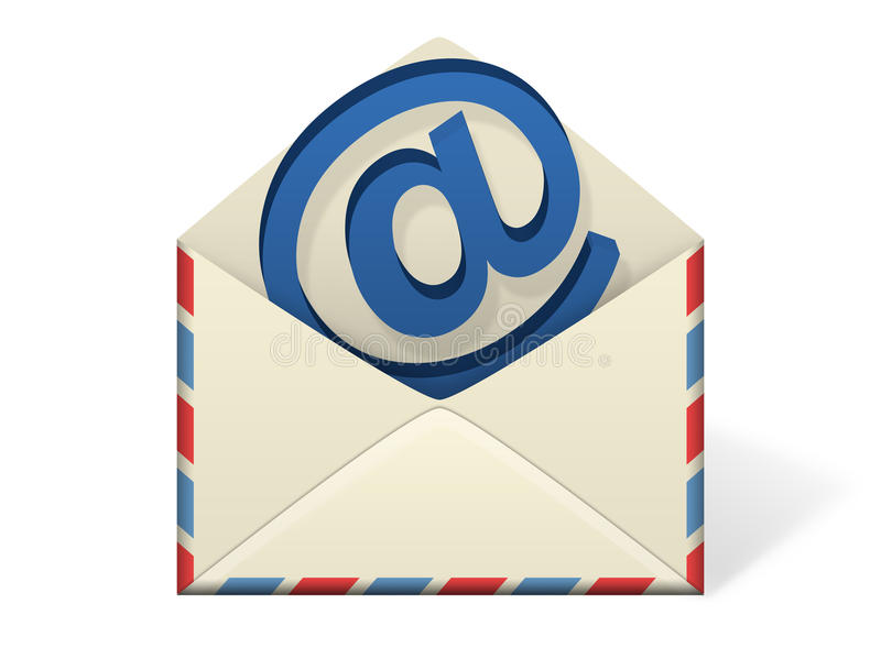 Letter Envelope. An illustration of an envelope open with an emerging piece of paper or letter coming out from inside the envelope. Add your own text or message stock illustration