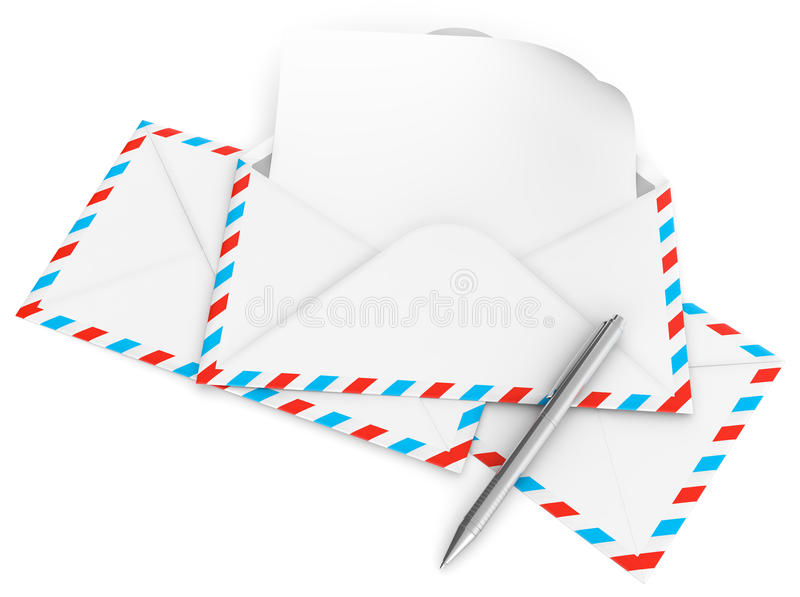 Letter envelope. 3D illustration of letter envelope and metal pen isolated on white background stock illustration