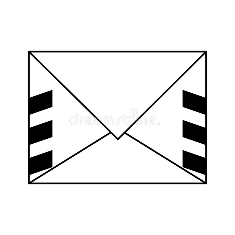 Letter envelope mail symbol isolated in black and white vector illustration