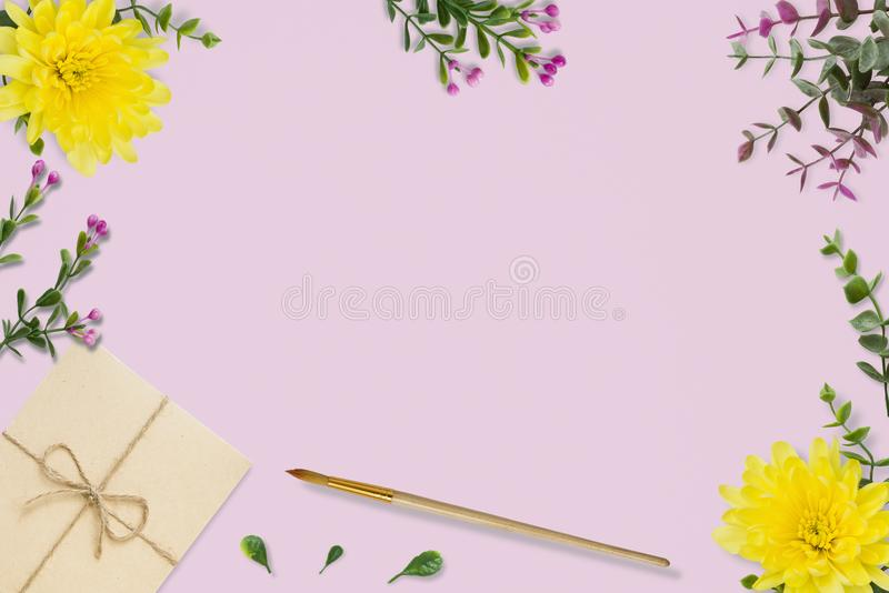 Letter, envelope on pink background. Wedding invitation cards or love letter with chrysanthemums. Valentine`s day or other holida royalty free stock image