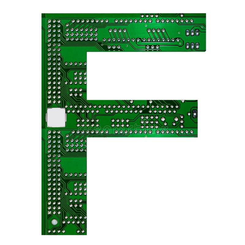 Letter F, Alphabet in circuit board style. Digital hi-tech letter isolated on white. 3d illustration.  stock illustration