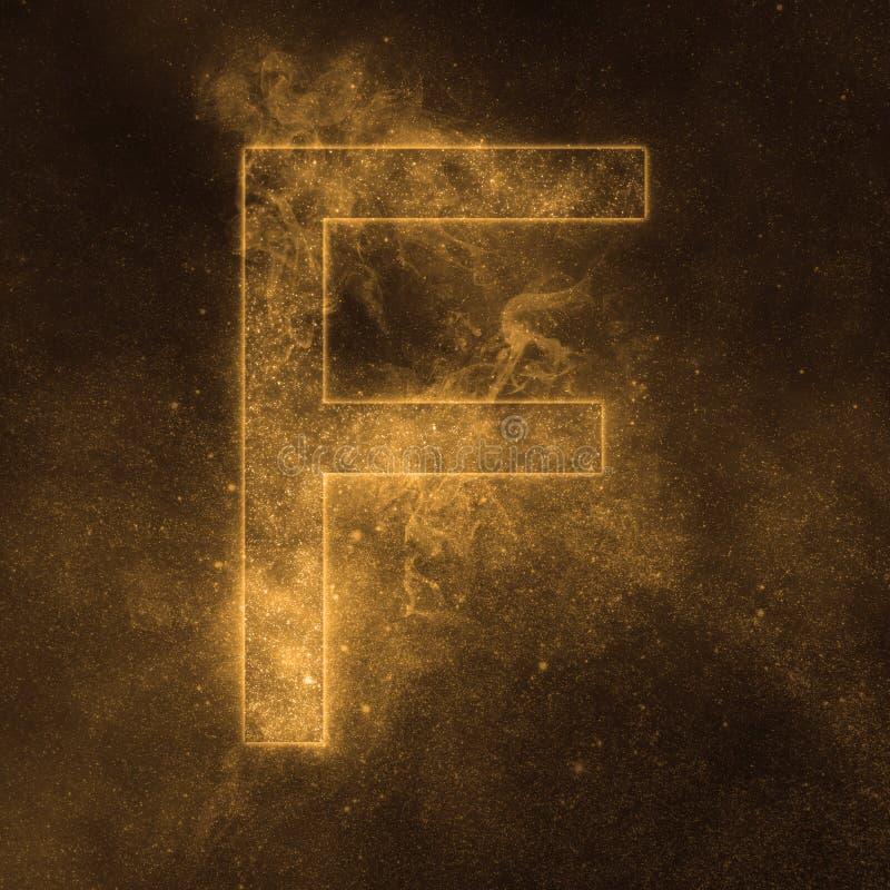 Letter F alphabet symbol. Space Letter, Night Sky Letter. Space letters vector illustration
