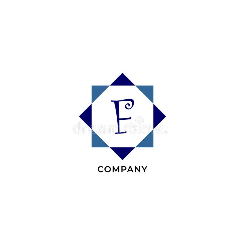 Letter F Alphabetic Logo Design Template, Development company Logo Concept иллюстрация вектора