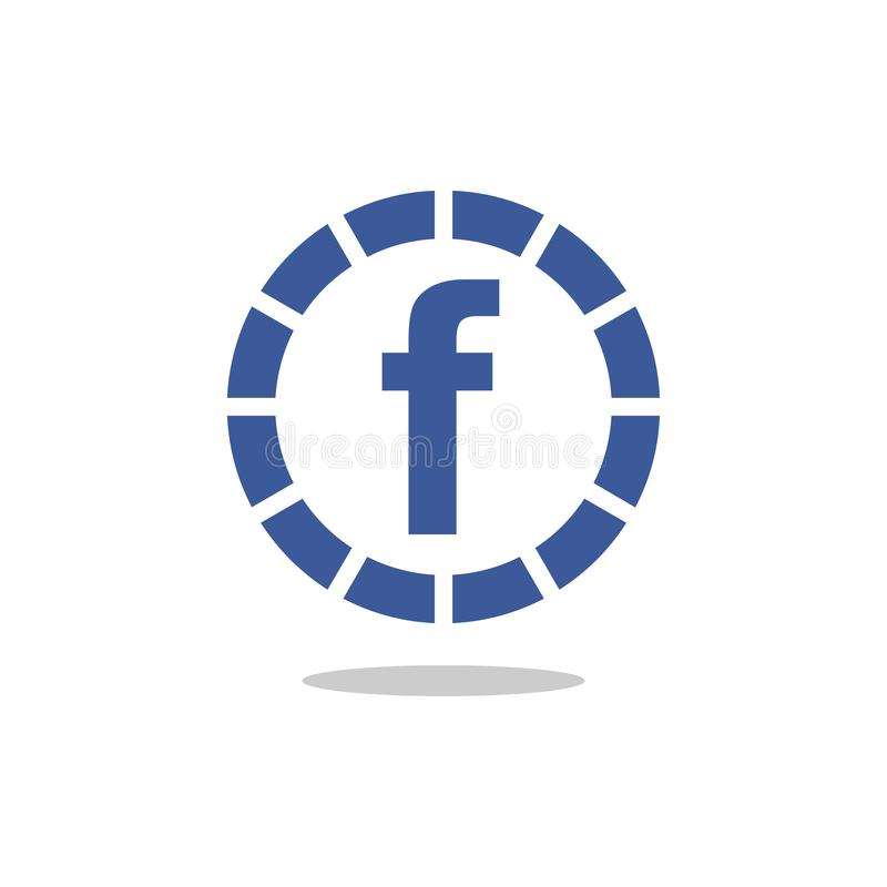 Facebook icon, Letter f blue circle vector icon. Vector template ready for use stock illustration