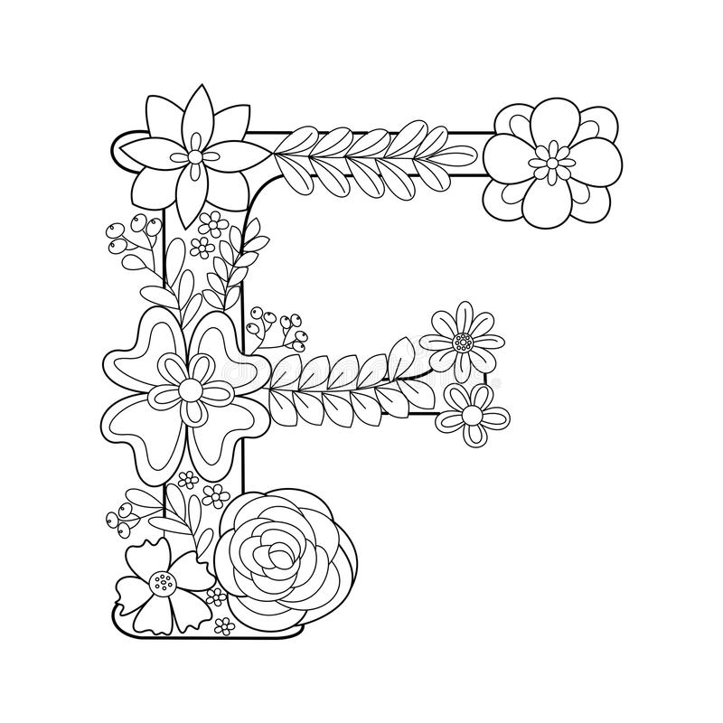 Letter F Coloring Book For Adults Vector Stock Vector