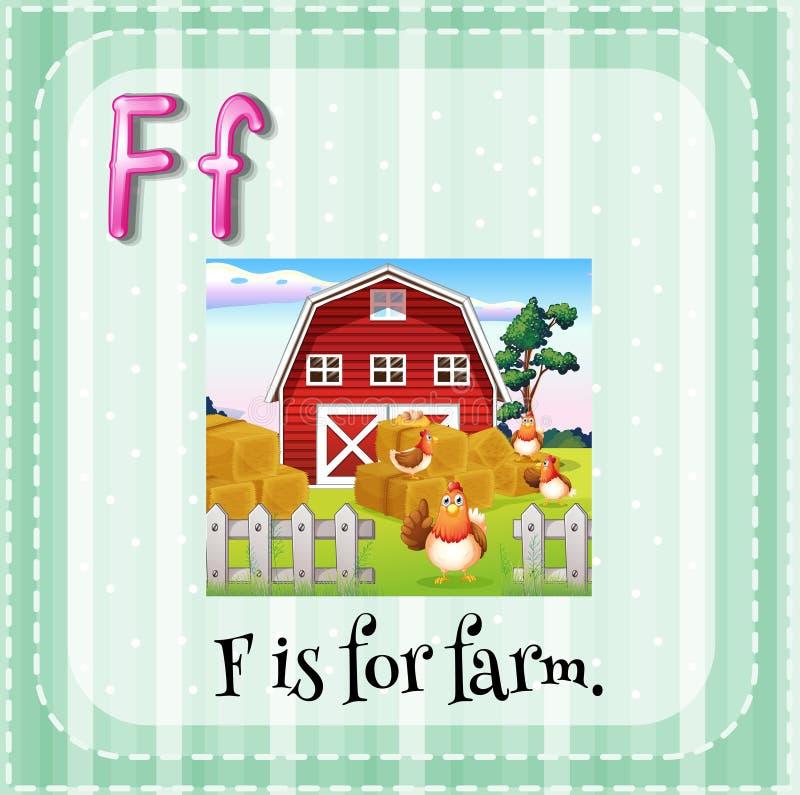 Letter F. Flashcard letter F is for farm stock illustration