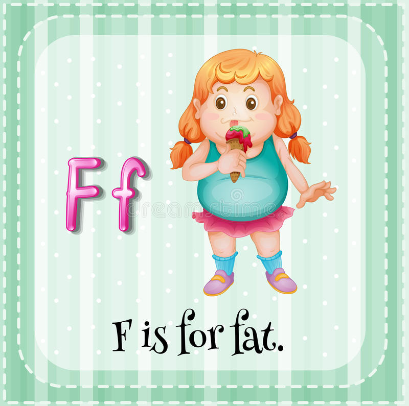 Letter F. Flashcard letter F is for fat royalty free illustration