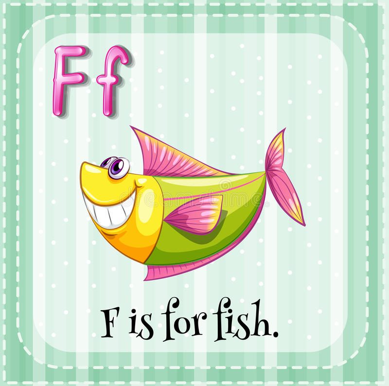 Letter F. Flashcard letter F is for fish vector illustration