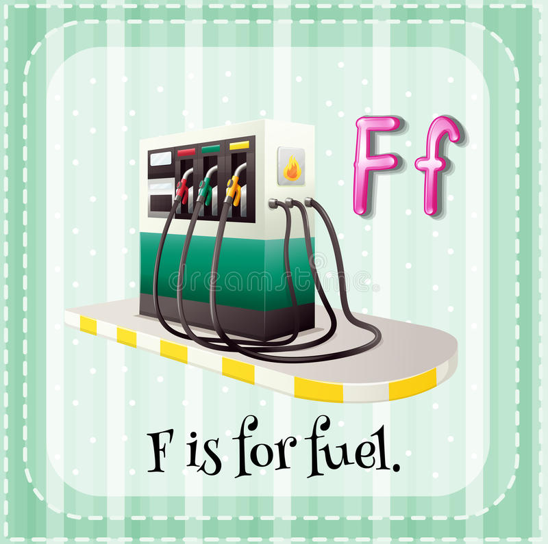 Letter F. Flashcard letter F is for fuel royalty free illustration