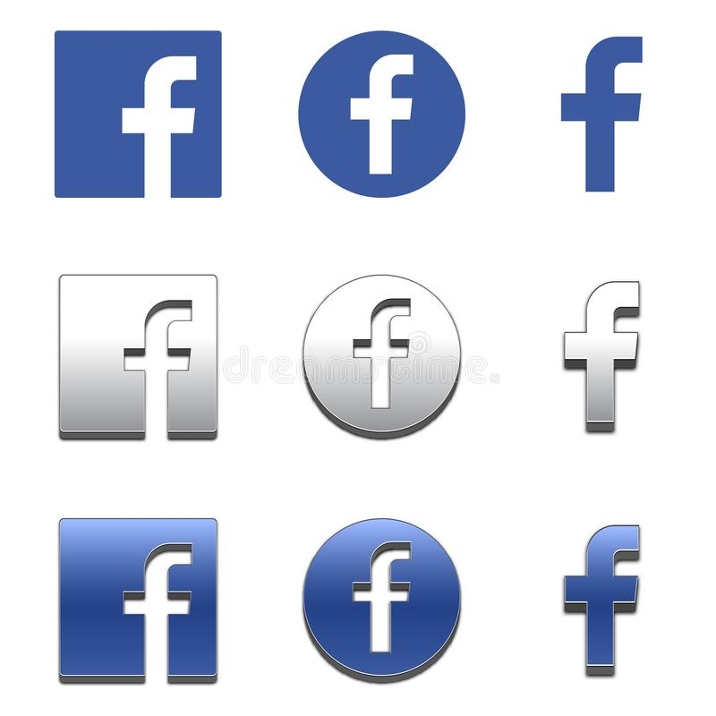 Letter f icon. Social media icon. facebook icon. royalty free illustration