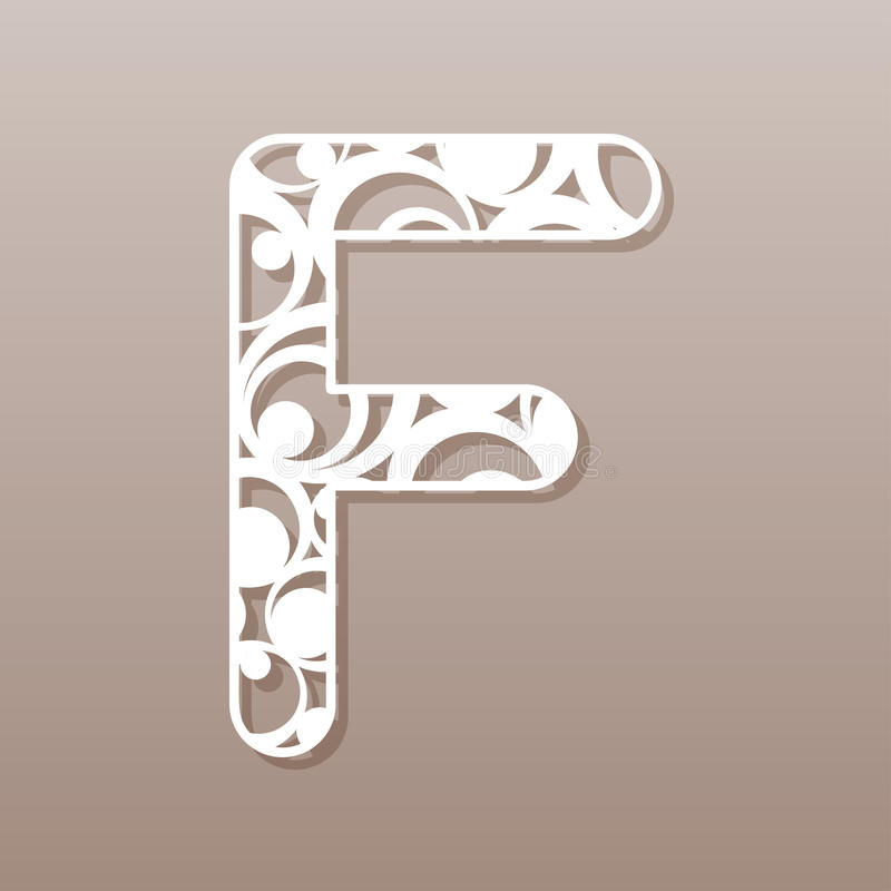 Letter F For Laser Cutting English Alphabet Stock Vector