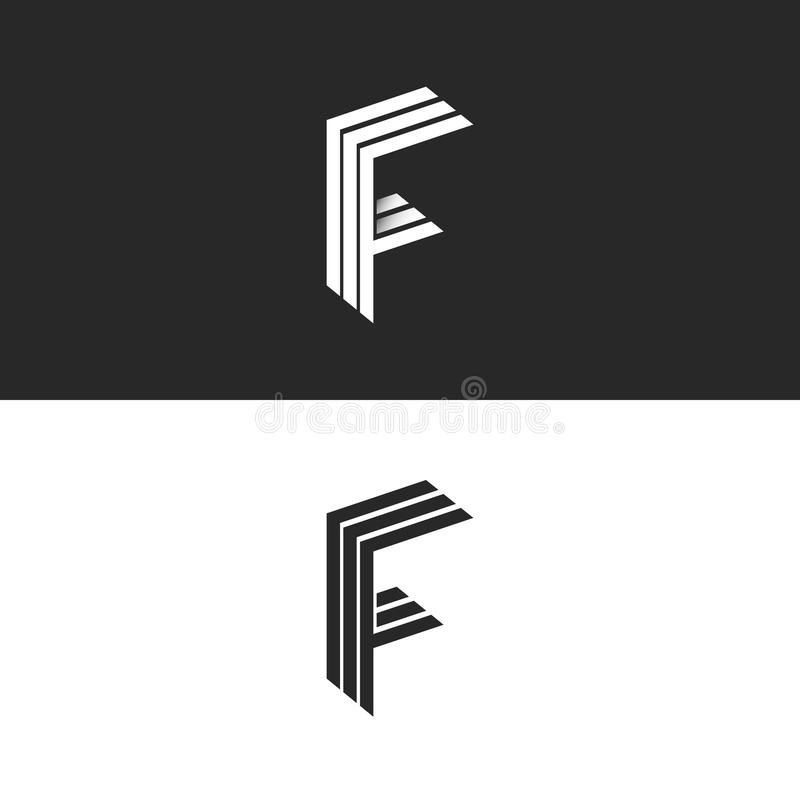 Letter F logo monogram initial, isometric geometric shape graphic design set 3D element, linear black and white business card stock illustration