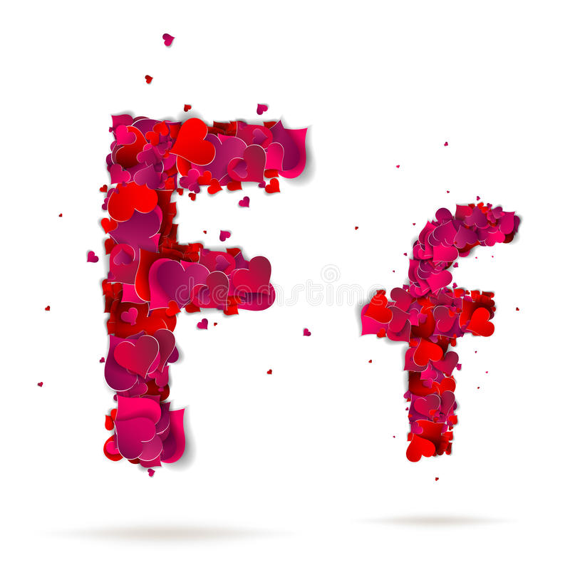 Letter F Made From Hearts Love Alphabet Stock Image