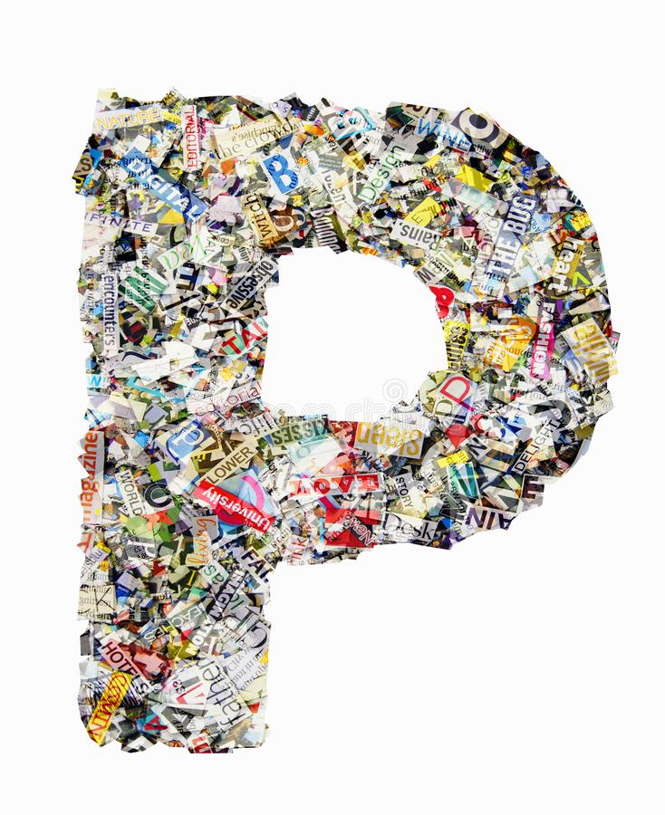 The letter F made from newspaper and magazine isolated royalty free stock photos
