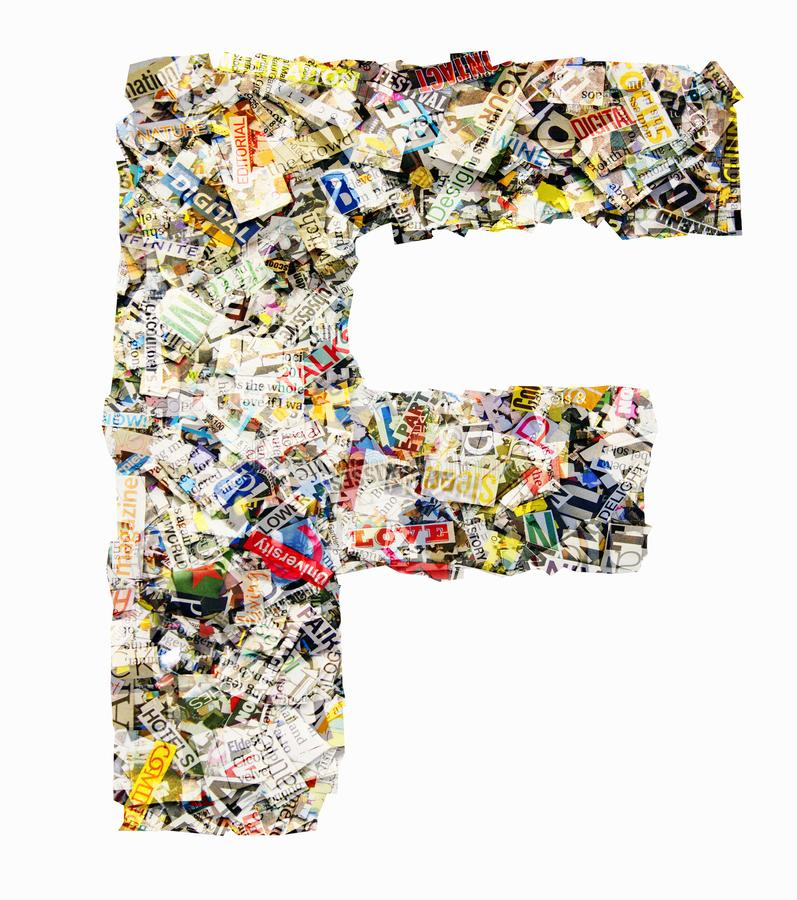 The letter F made from newspaper and magazine isolated stock photo
