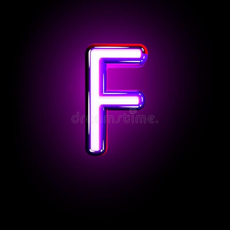 Purple glow neon alphabet - letter F isolated on black background, 3D illustration of symbols. Letter F of neon purple glow alphabet isolated on black - 3D royalty free illustration